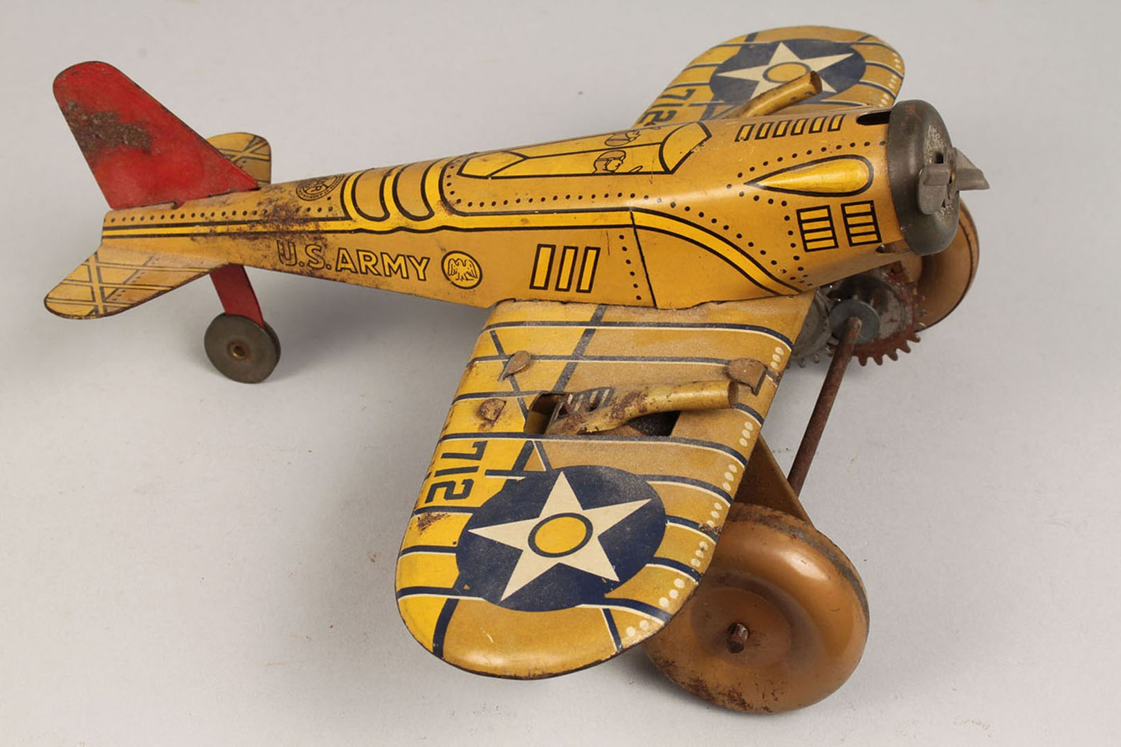 Lot 2872359: 2 Marx Tin Wind-Up Toys, Car & Plane