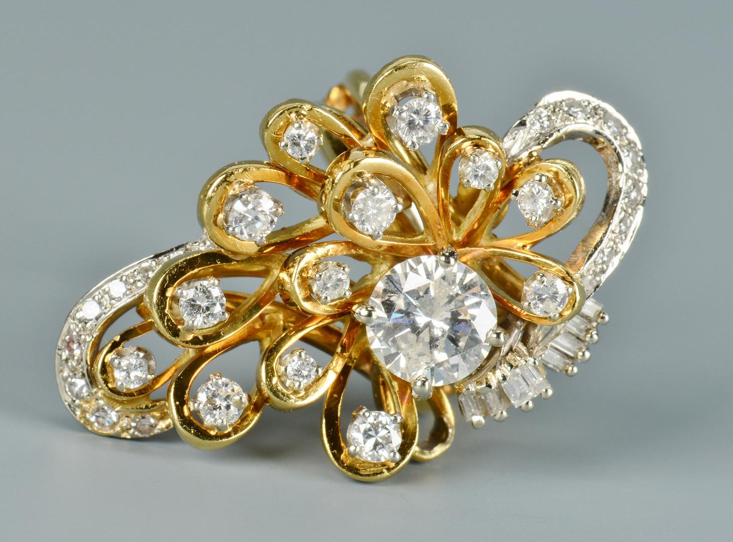 Lot 3088050: 18k Custom Cluster Diamond Ring