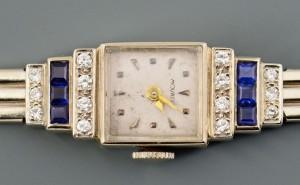 Lot 3088054: Movado Art Deco 14k Dia & Sapphire Lady's Watch
