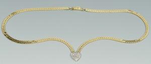 Lot 3088057: 14k Diamond Heart Necklace