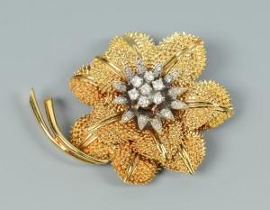 Lot 3088063: 14k Flower pendant/brooch w/ diamonds