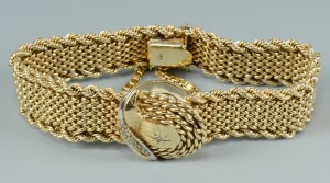 Lot 3088068: 14k Lady's Luva Bracelet Watch w/ Covered Dial