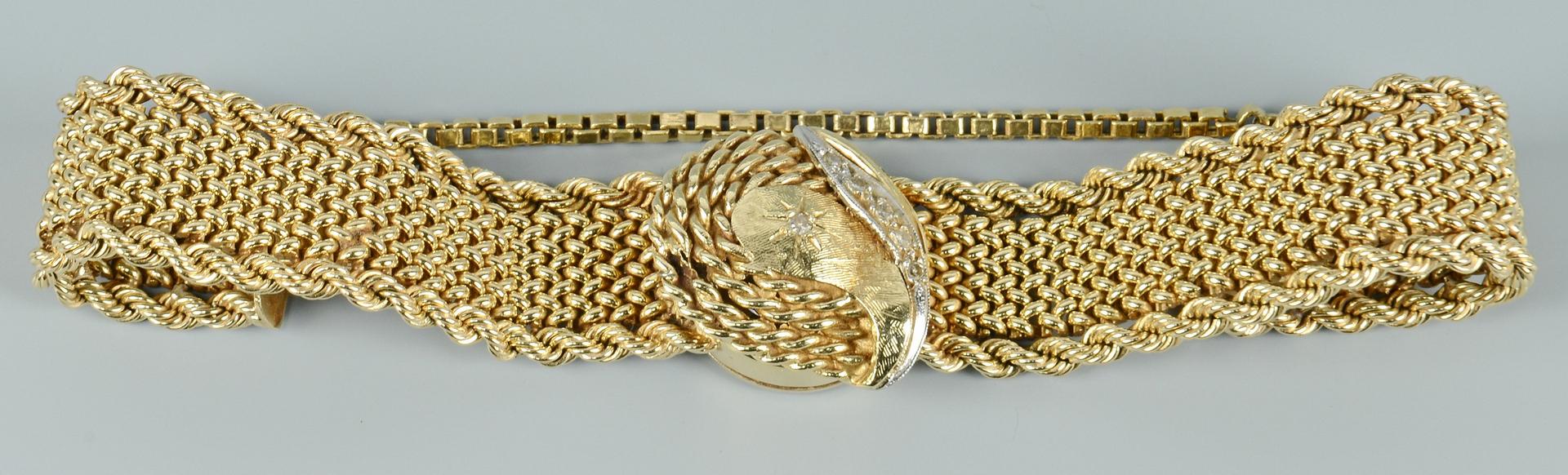 Lot 3088068: 14k Lady's Luva Bracelet Watch w/ Covered Dial