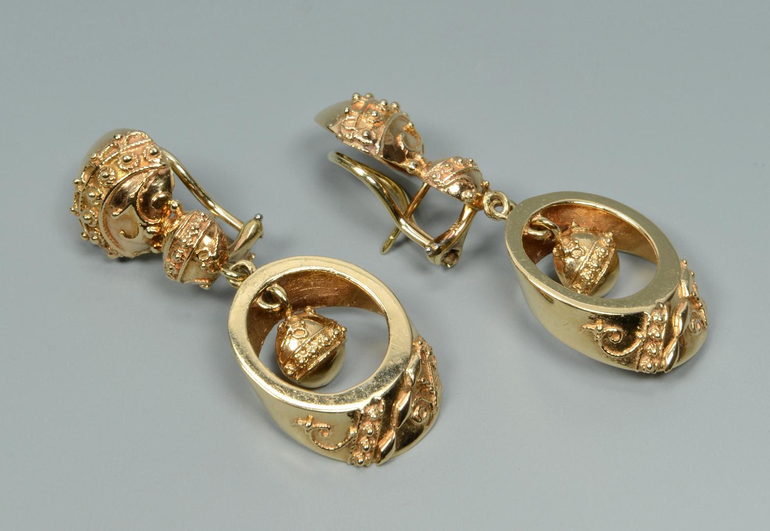 Lot 3088070: 2 Pair 14k Dangle Earrings