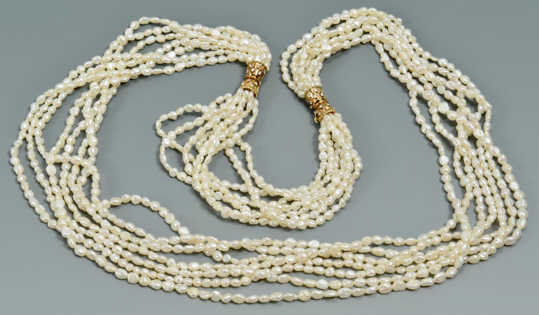 Lot 3088072: 18k Dia Freshwater Pearl Necklace/Bracelet combo