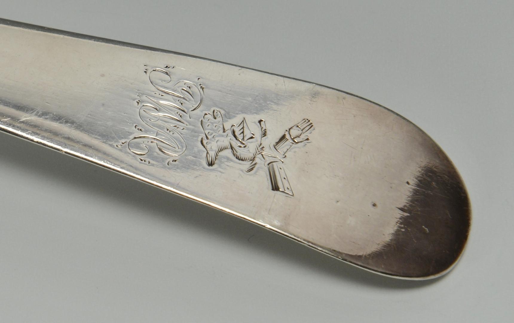 Lot 3088084: 18th century Irish silver soup ladle, crested