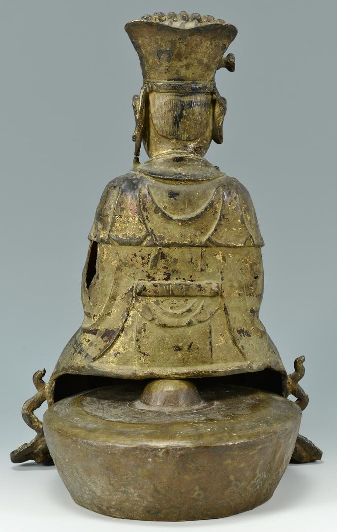 Lot 3088087: Chinese Ming Gilt Bronze of Wenchang Wang