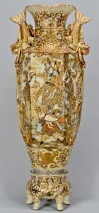 "Lot 3088091: Monumental Satsuma Palace Vase w/ Stand, 48"""