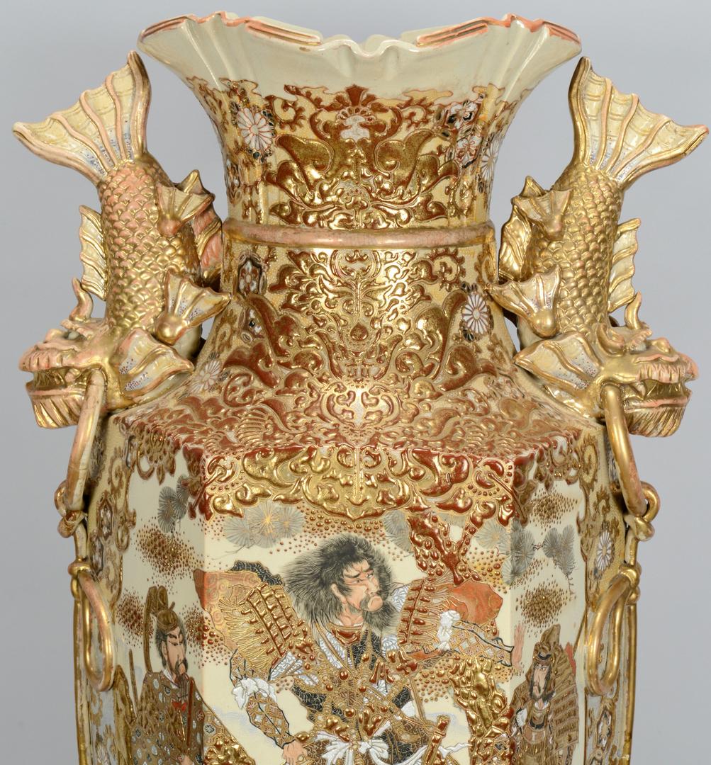 Lot 3088091: Monumental Satsuma Palace Vase w/ Stand, 48″