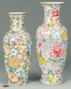 Lot 3088093: Pr. Chinese 100 Flowers Porcelain Vases