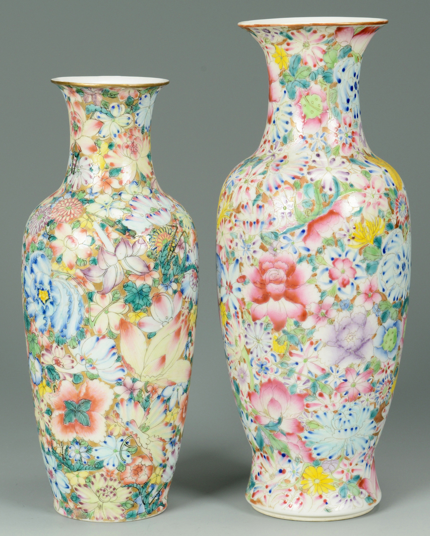 Lot 3088093: Pr. Chinese 100 Flowers Porcelain Vases