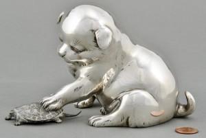 Lot 3088096: Meiji Mixed Metal Figurine, Dog and Turtle