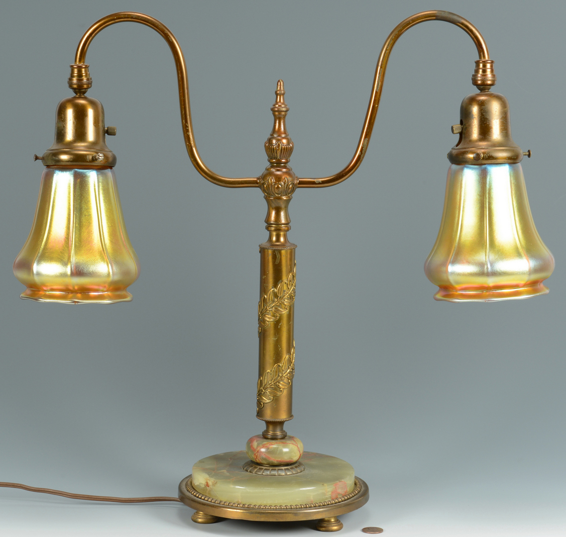 Lot 3088102: Student Lamp w/ Art Glass Shades, Steuben