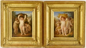 Lot 3088107: Pr. of Oil Paintings of putti, signed Brun