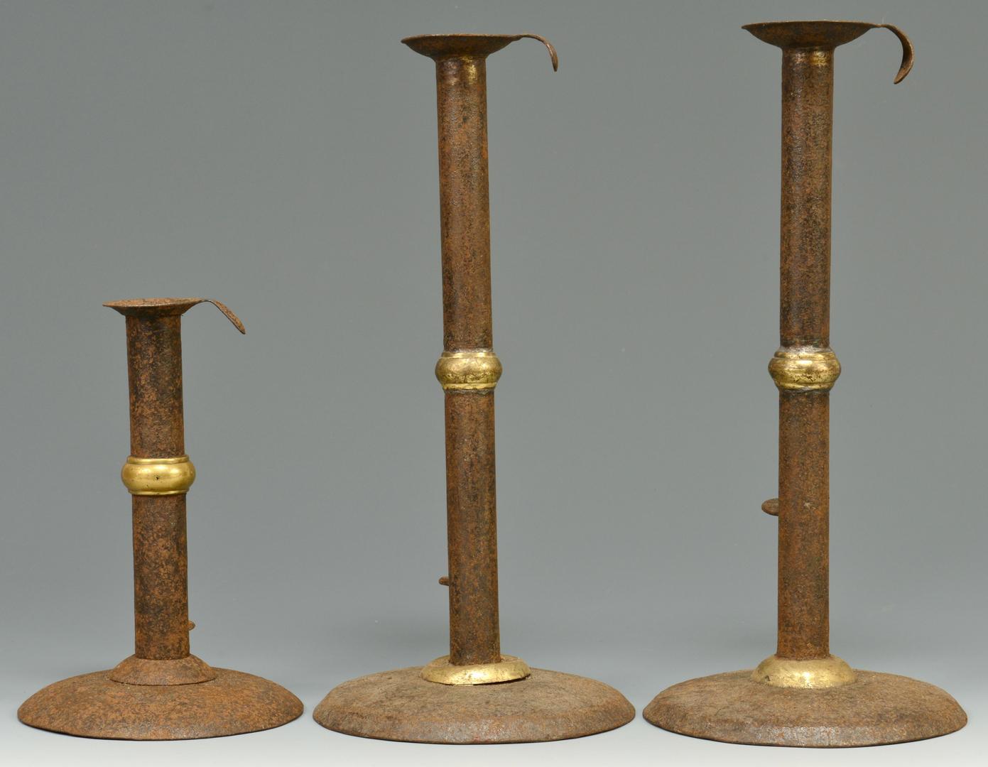 Lot 3088116: 3 Brass Wedding Band Hogscraper Candlesticks