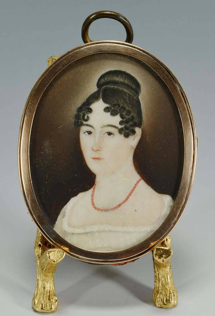 Lot 3088118: Folk Art Portrait Miniature, American School, 1820