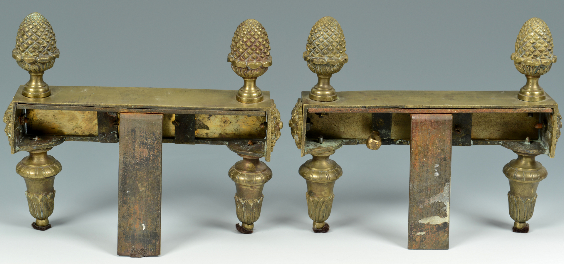 Lot 3088121: 2 Pair French Gilt Bronze Chenets
