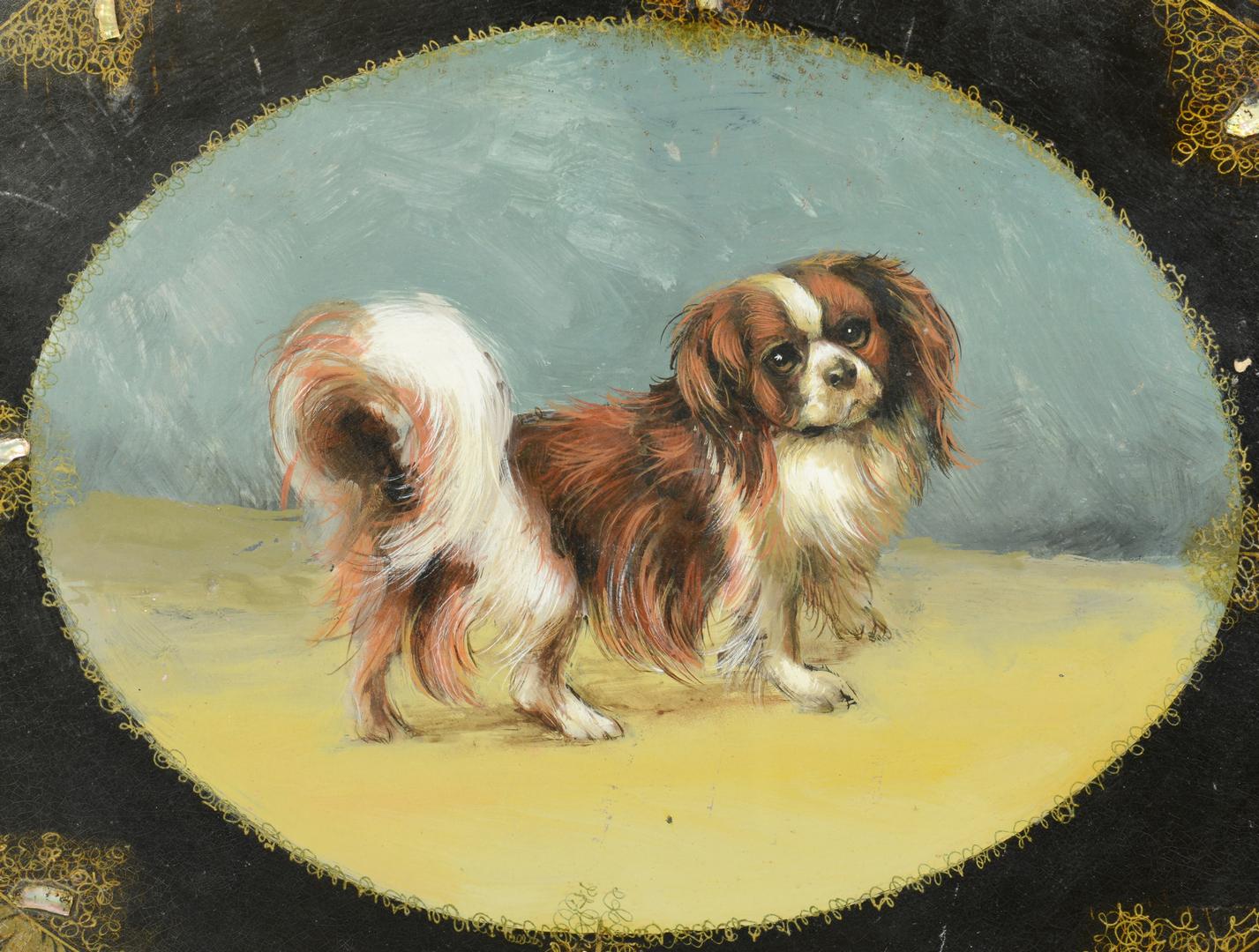 Lot 3088124: Papier Mache Tray, Pekinese Dog
