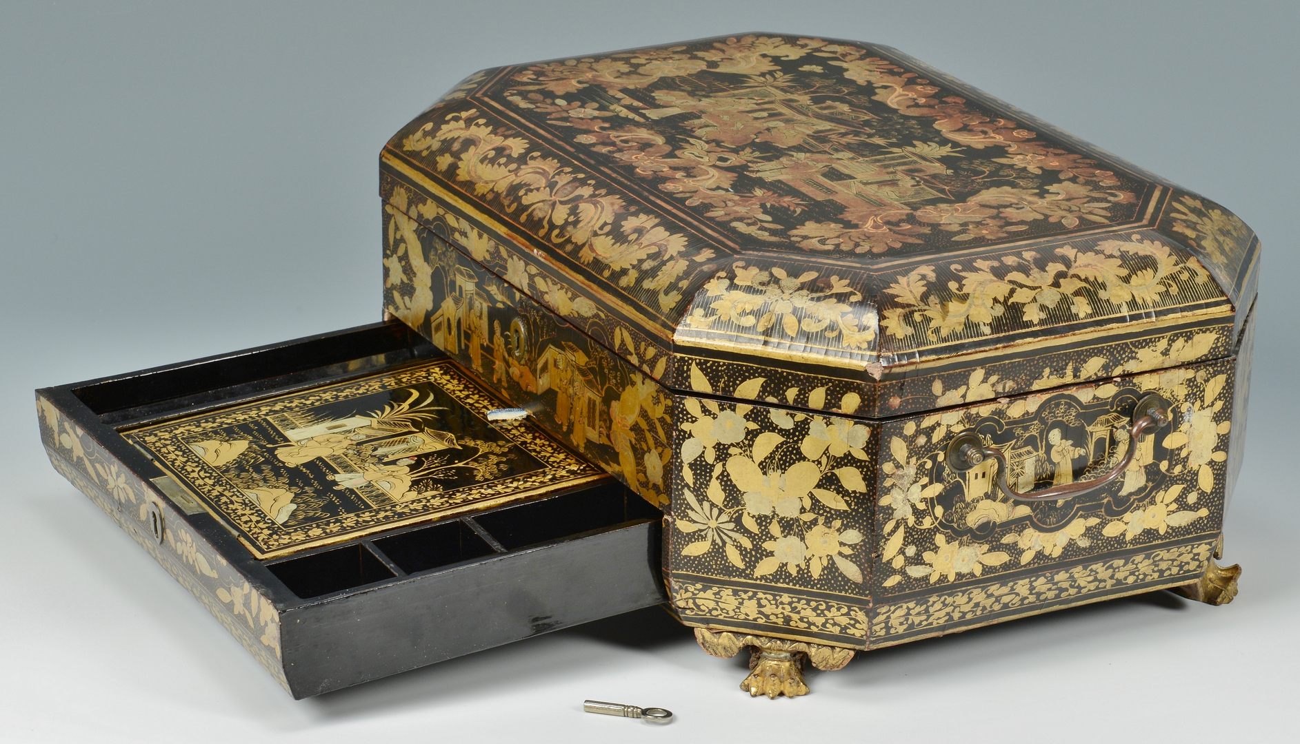 Lot 3088125: Gilt Lacquer Chinoiserie Sewing or Work Box