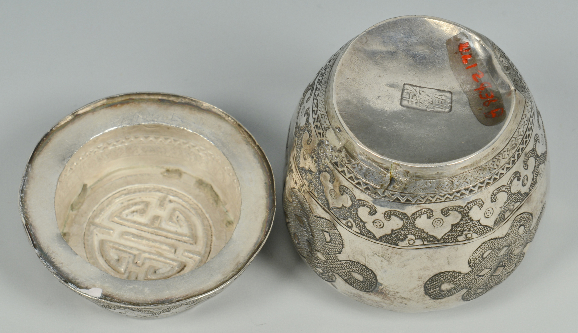 Lot 3088128: Chinese Silver Box & Asian Bronze Incense