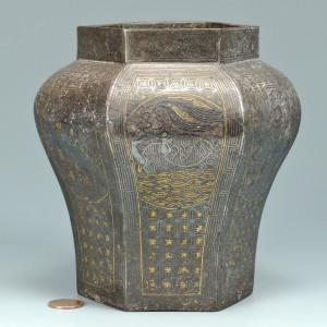 Lot 3088129: Asian Iron Hexagonal Vase w/ Silver & Gold Inlay