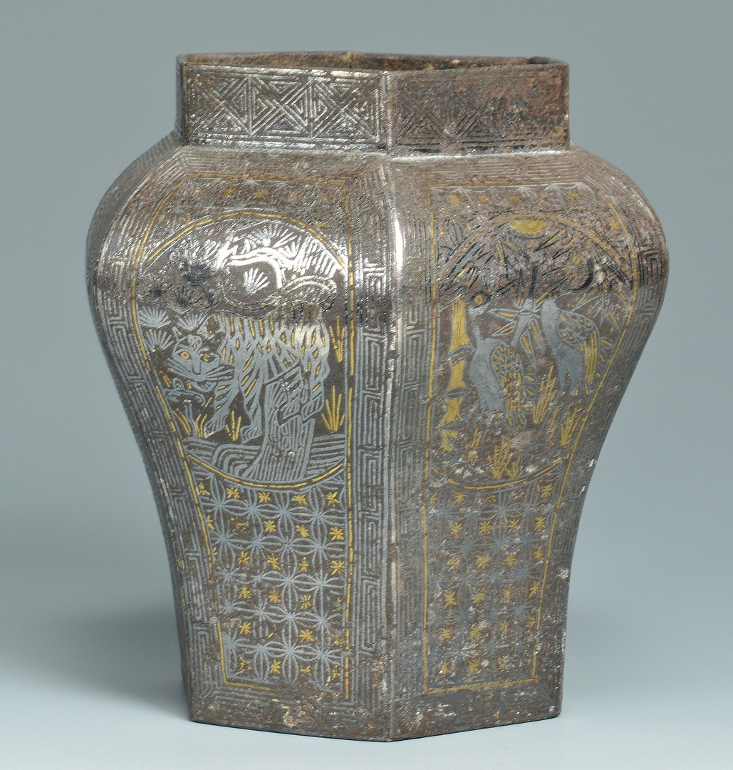 Lot 3088129: Asian Iron Hexagonal Vase w/ Silver & Gold Inlay