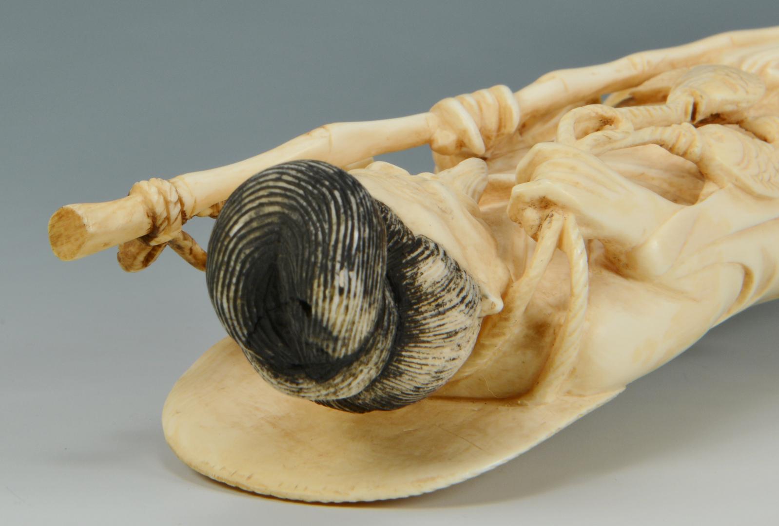Lot 3088133: Carved Asian Ivory Fisherman Okimono