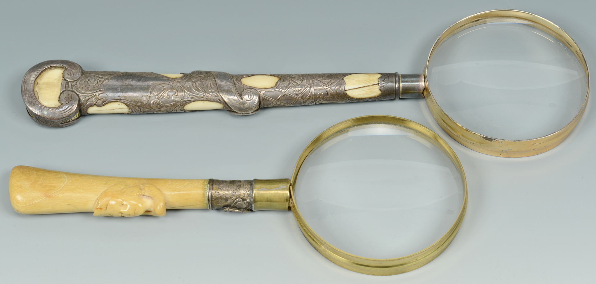 Lot 3088137: 4 Antique Ivory Items: magnifiers, tusk bracelet,