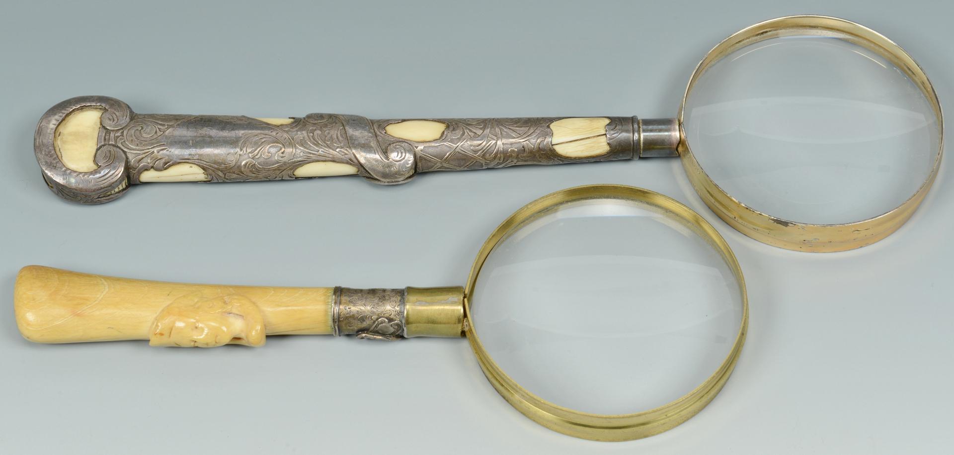 Lot 3088137: 4 Antique Ivory Items: magnifiers, tusk bracelet,