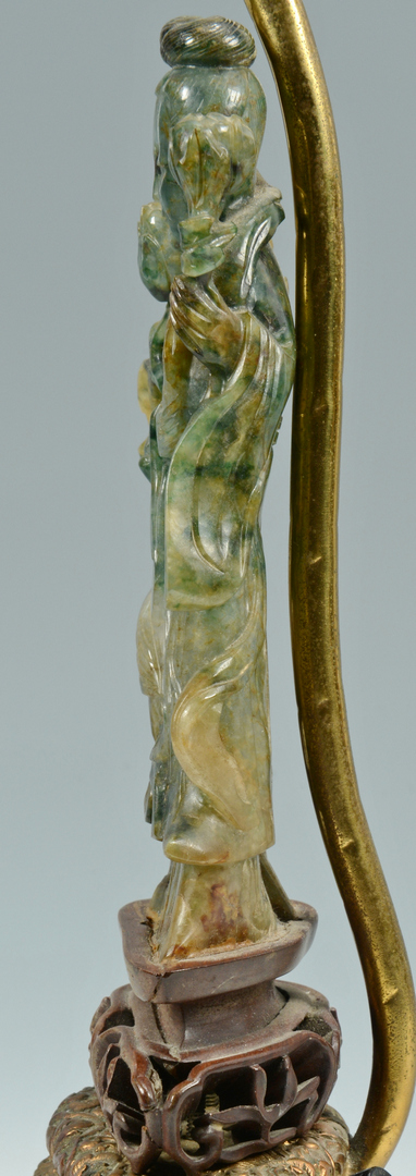 Lot 3088140: Asian Carved Jade Figural Lamp