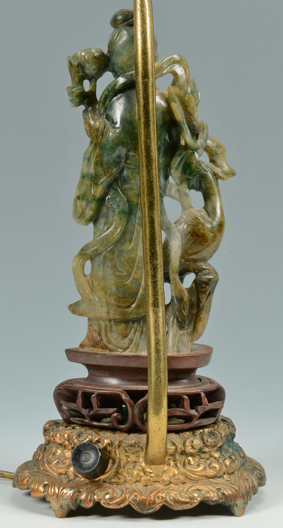 Lot 3088140: Asian Carved Jade Figural Lamp