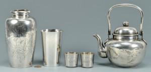 Lot 3088147: 4 pcs. Asian Silver plus Whiting beaker