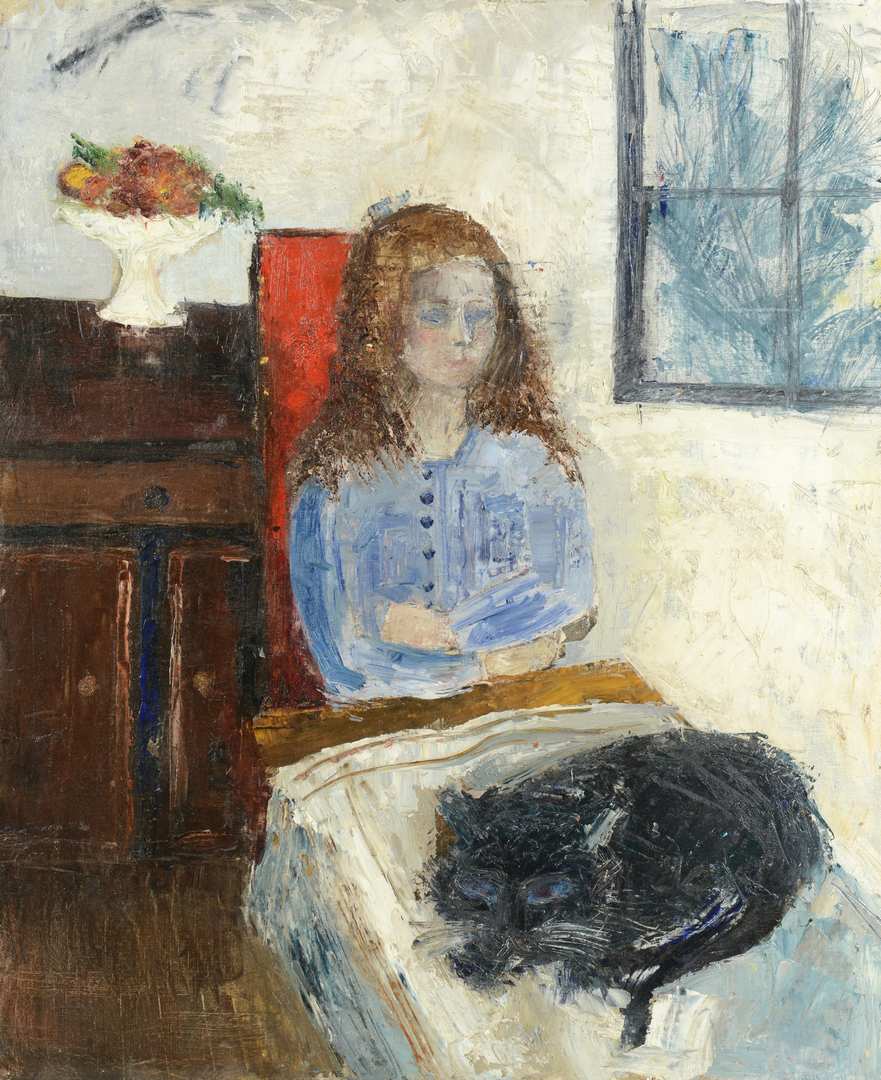 Lot 3088157: 19th c. French School Painting, Girl w/ Cat