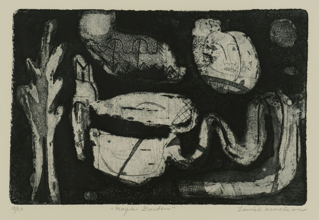 "Lot 3088160: Louise Nevelson Etching and Aquatint, ""Magic Garde"