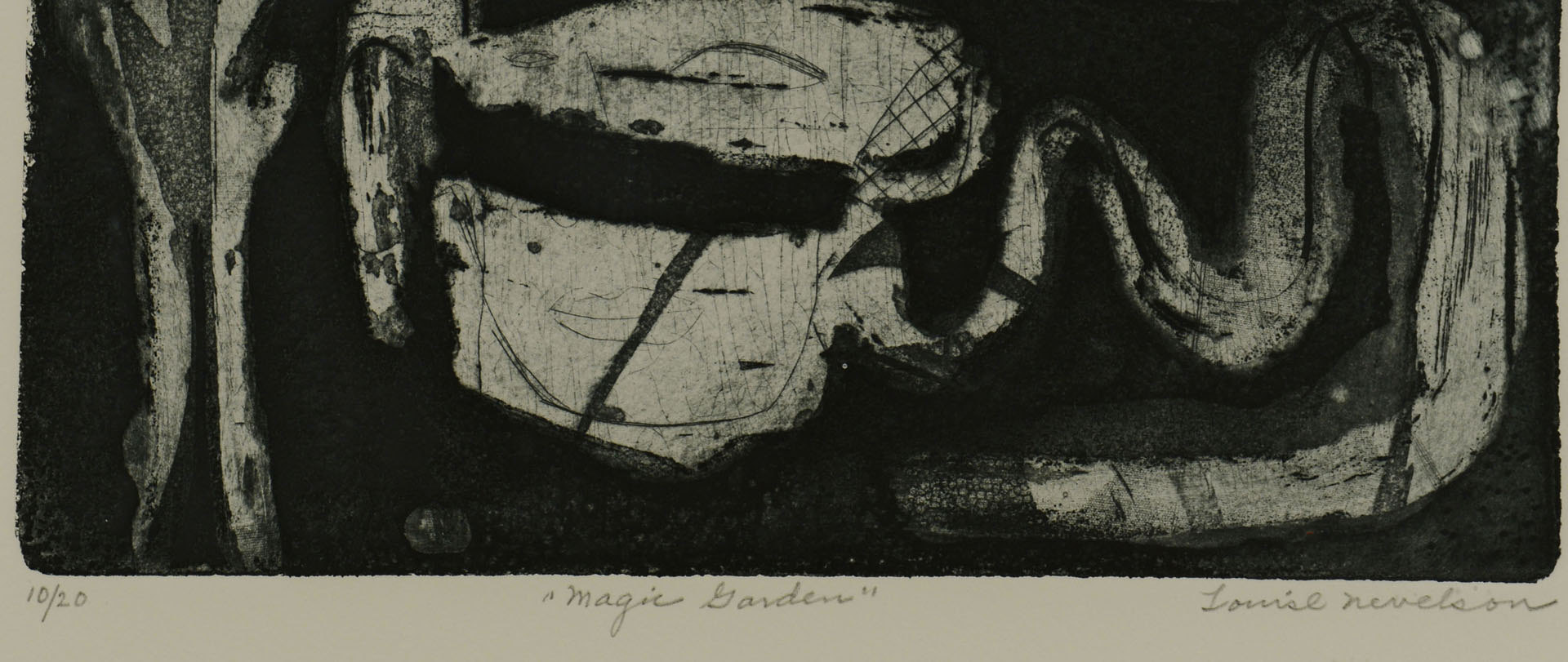 """Lot 3088160: Louise Nevelson Etching and Aquatint, """"Magic Garde"""