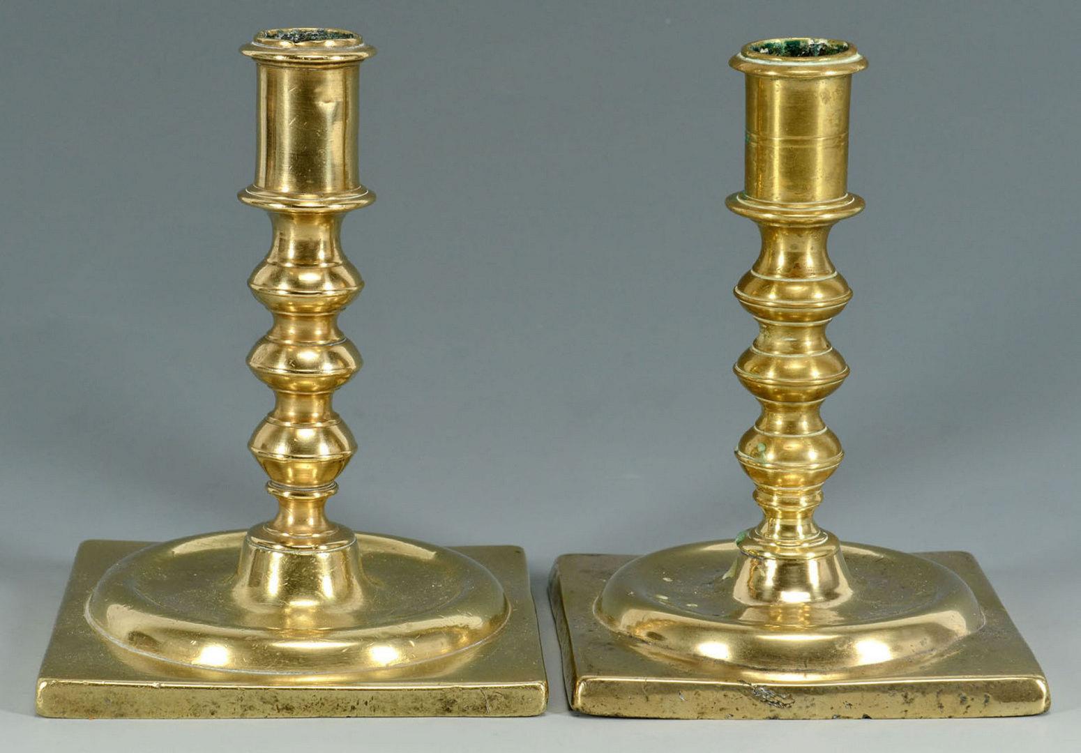 Lot 3088171: Four English Brass Candlesticks