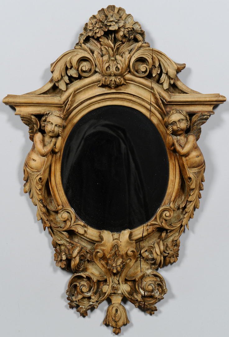Lot 3088176: Baroque Style Oval Mirror w/ Cherubs