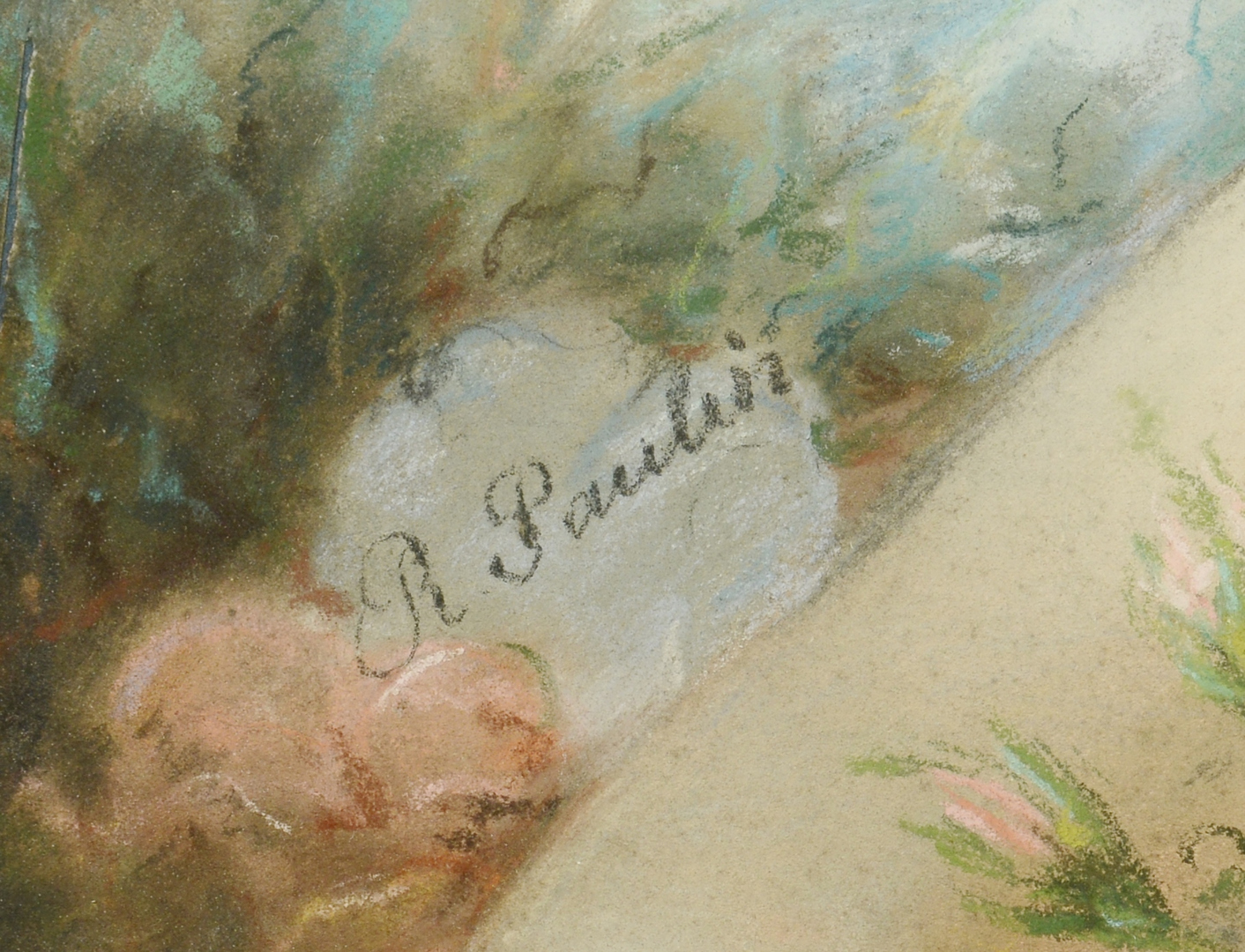 Lot 3088181: Oval Pastel Painting signed Paulin