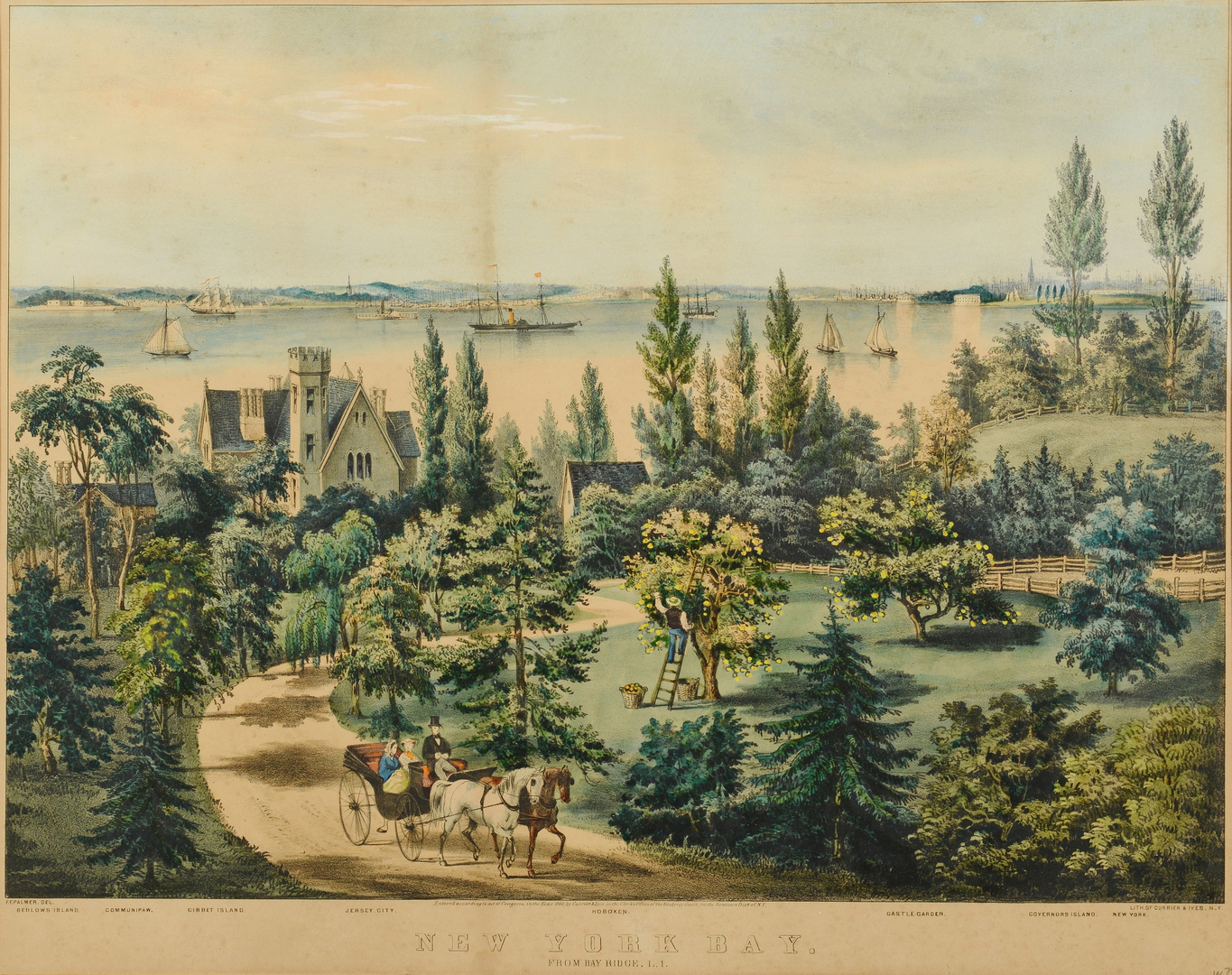 Lot 3088183: Currier & Ives Lithograph, New York Bay