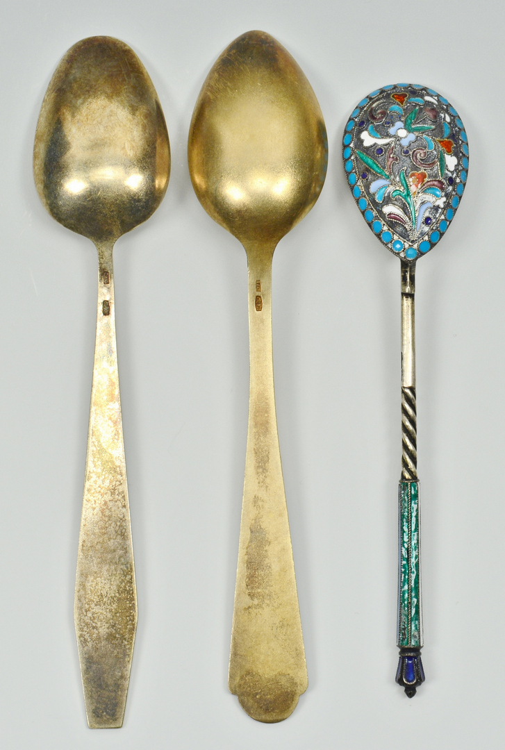 Lot 3088195: Enameled Silver and Copper Spoons, Cups