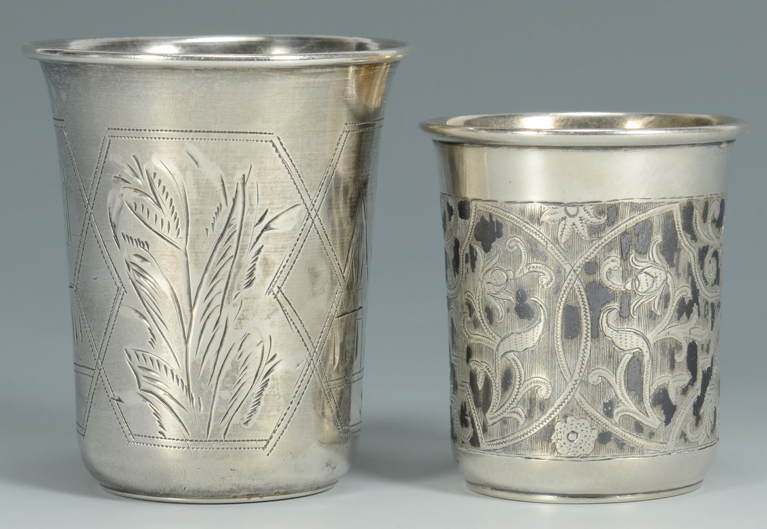 Lot 3088196: 2 Russian Silver Kiddush Cups inc. Niello and 2 Sp