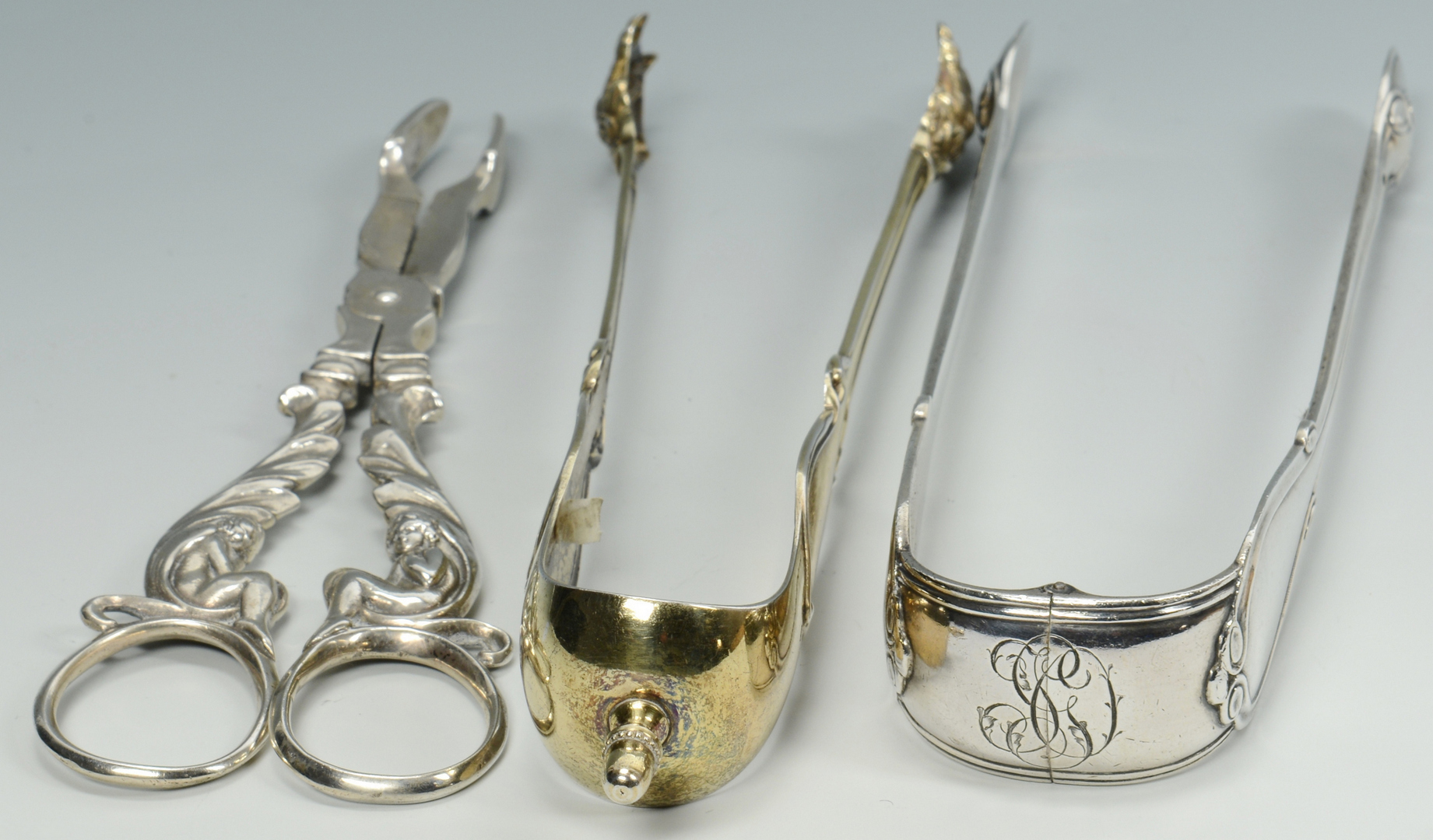 Lot 3088197: 3 Pairs French Sugar Tongs