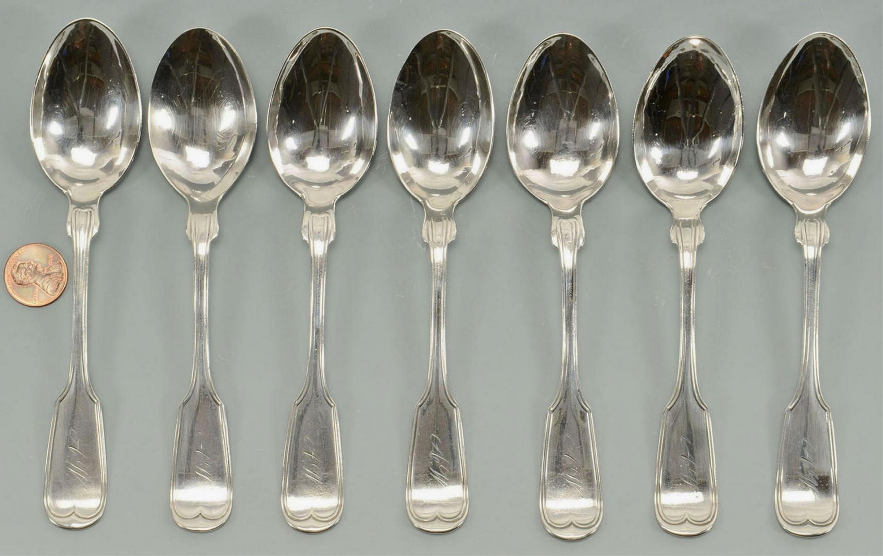 Lot 3088198: 7 Nashville retailed Coin Silver Teaspoons