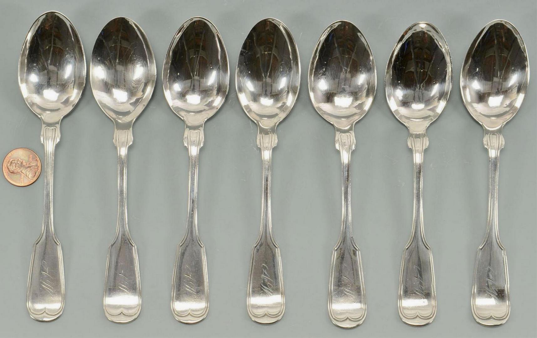 Lot 3088198: 7 Nashville retailed Coin Silver Teaspoons
