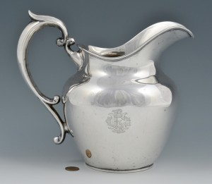 Lot 3088201: Sterling Silver Water Pitcher, Art Deco Monogram