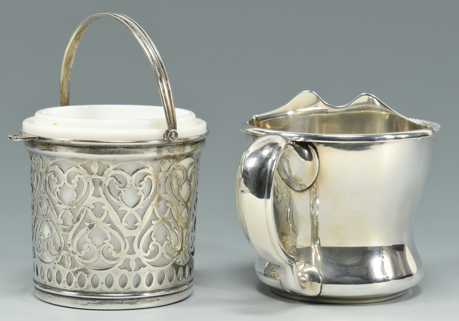 Lot 3088205: Rare Gorham Sterling Moustache Cup plus basket