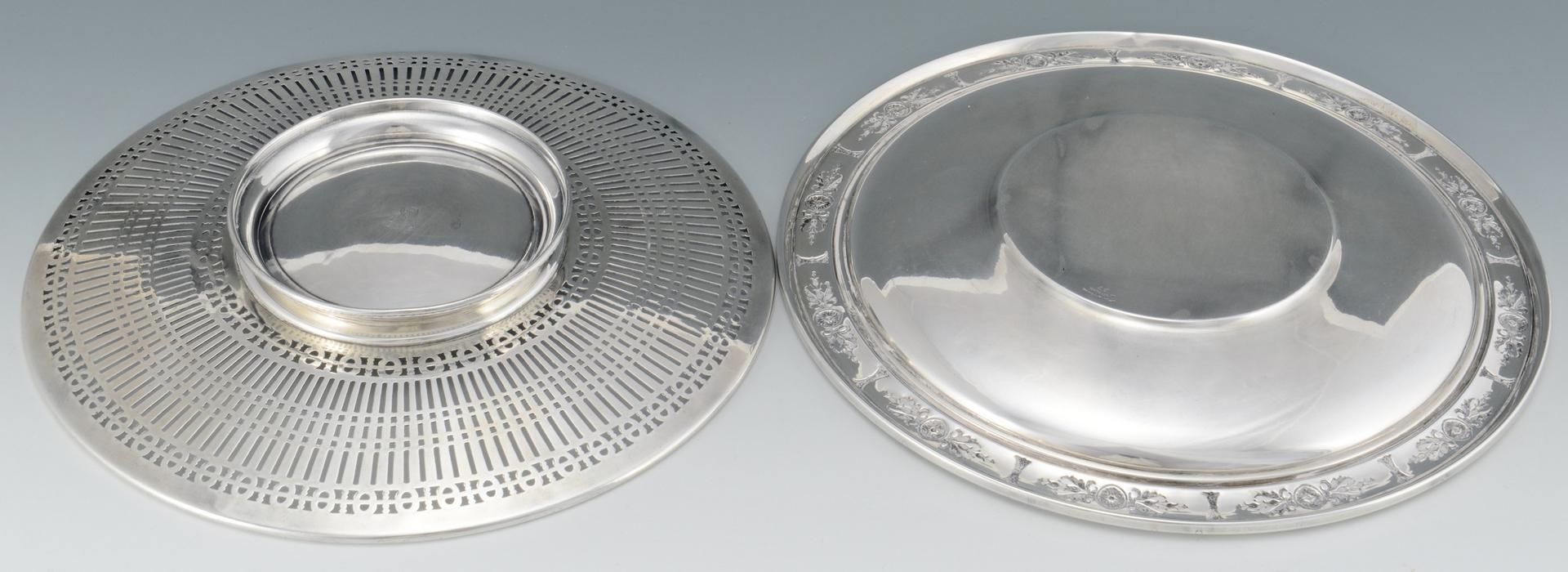 Lot 3088206: 3 pcs Sterling Hollowware: Veg. bowl, 2 plates