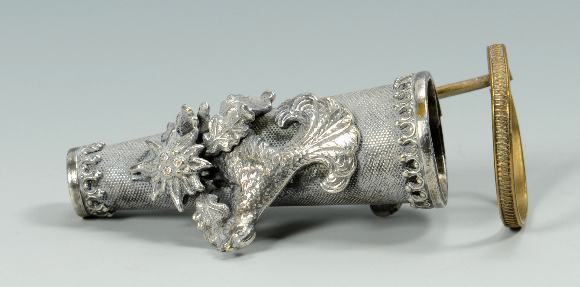 Lot 3088209: Two Posy Holders, sterling and mixed metals