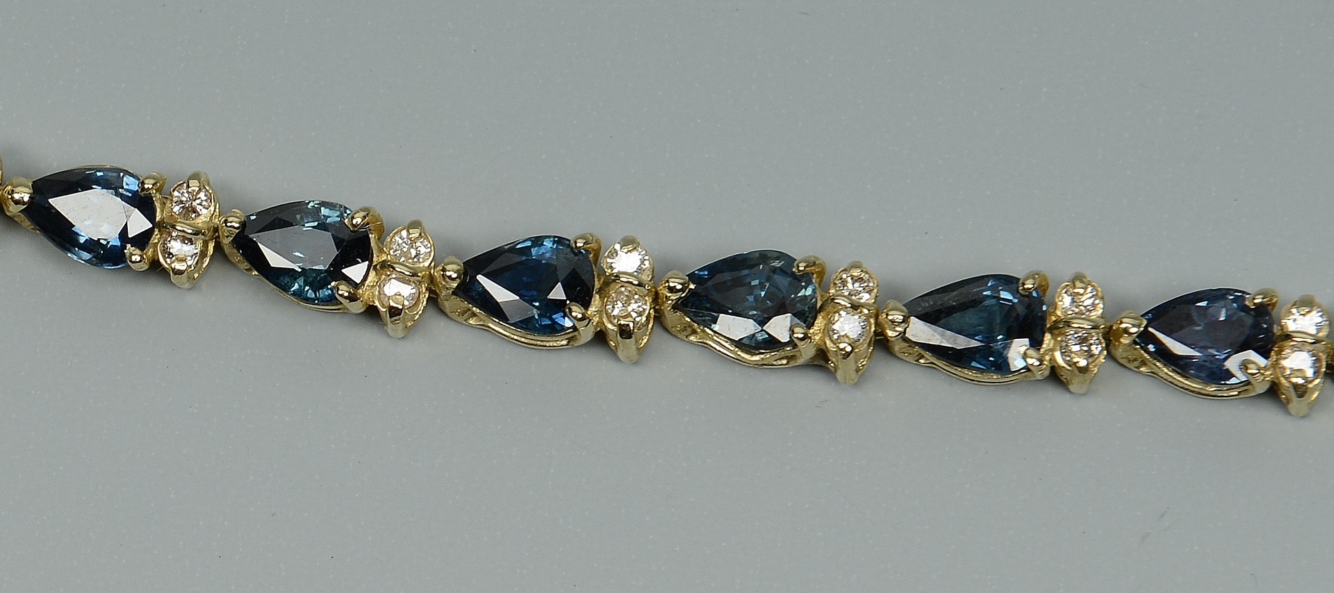 Lot 3088219: 14k Sapphire & Diamond Line Bracelet
