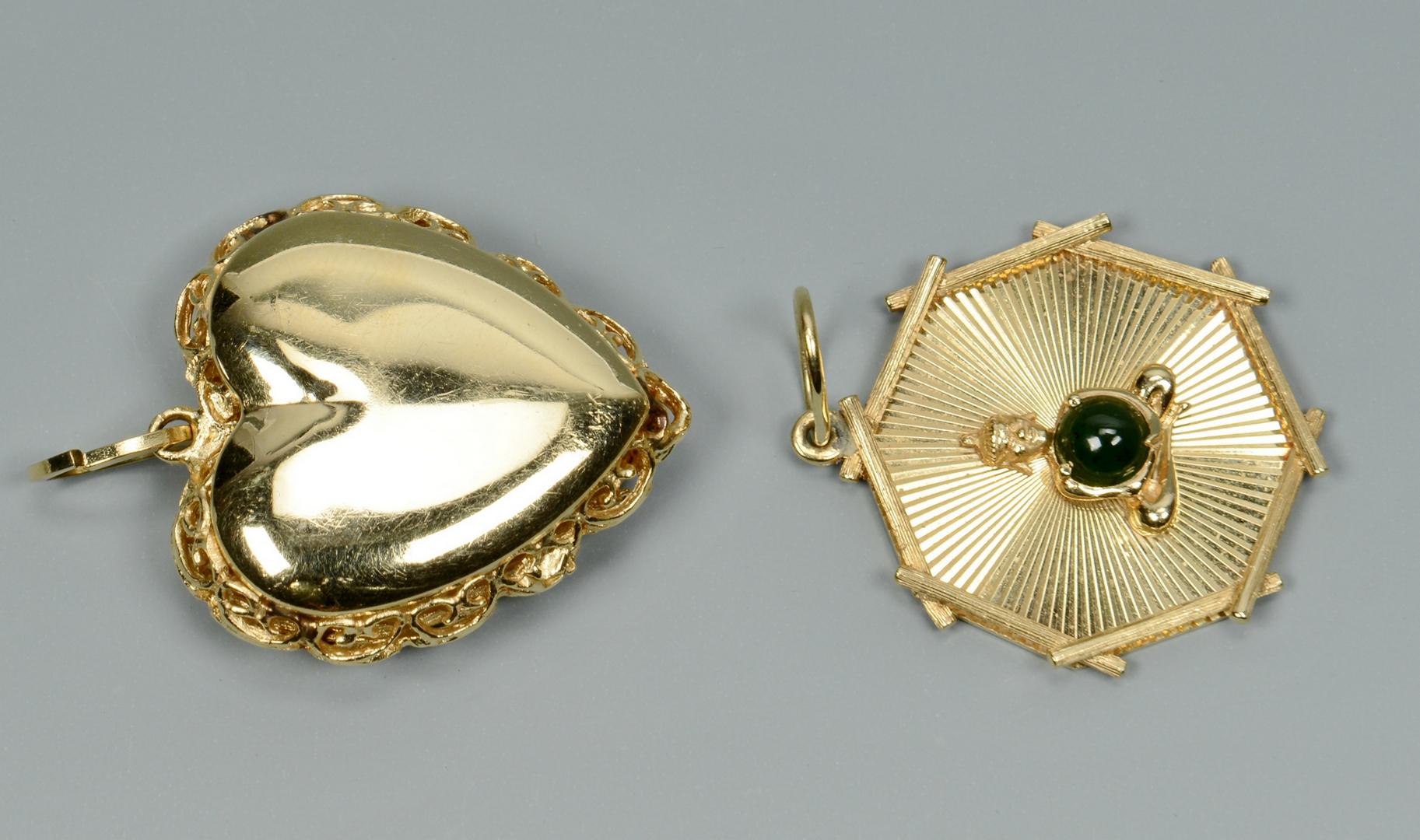 Lot 3088222: Two 14k pendants: Buddha and Puffed Heart